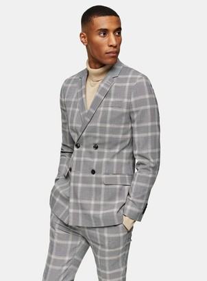 Topman Grey Check Double Breasted Super Skinny Fit Suit Blazer With Notch Lapels