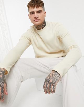 ASOS DESIGN long sleeve waffle t-shirt in beige