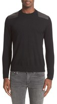 The Kooples Men's Leather Shoulder Panel Merino Pullover