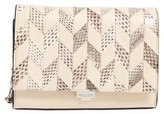 Michael Kors Small Yasmeen Chevron Leather Clutch - Beige