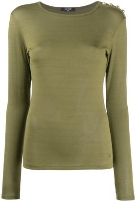 Balmain long sleeve button detailed T-shirt