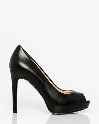 Le Château Faux Leather Peep Toe Platform Pump
