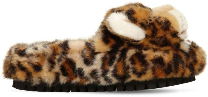 Dolce & Gabbana 30mm Faux Fur Leopard Slide Sandals