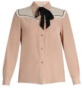 Miu Miu Neck-tie silk crepe de Chine blouse