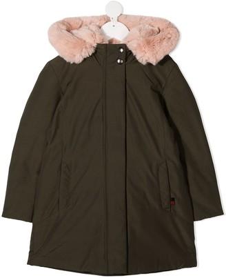 Woolrich Kids Faux Fur Trim Hooded Parka