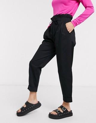 Bershka high waisted balloon trousers in black