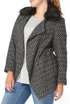 Evans Textured Open Front Coat with Faux Fur Collar (Plus Size)