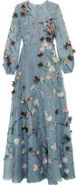 Valentino Appliquéd Silk-organza Gown - Sky blue