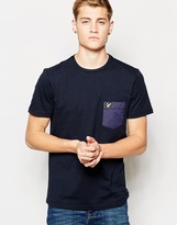 Lyle & Scott T-shirt With Woven Contrast Pocket - Blue