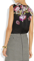 Giambattista Valli Floral-print silk-charmeuse top