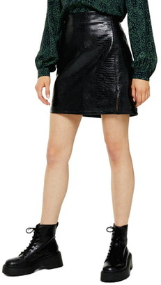 Topshop Croc Embossed Faux Leather Miniskirt