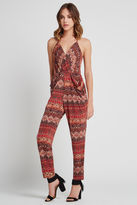BCBGeneration Drape Pocket Tapestry Print Jumpsuit - Coffee Bean
