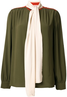 Marni Contrasting Pussy Bow Blouse