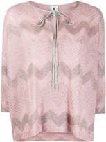 M Missoni Metallic Chevron-Pattern Top