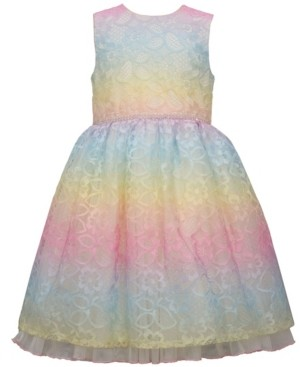 Bonnie Jean Little Girls Rainbow Lace Dirndl Dress with Sparkling Waist Trim