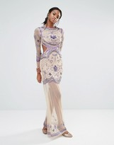 Missguided Embellished Long Sleeve Maxi Dress