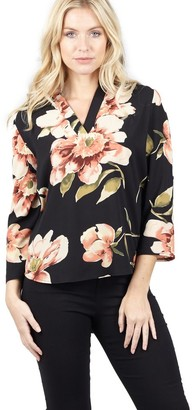 M&Co Izabel floral collarless blouse