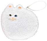 Keora Keora Fluffy Cat Large Pouch White