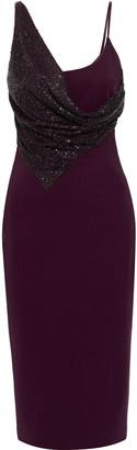 Cushnie Draped Embellished Ponte Midi Dress