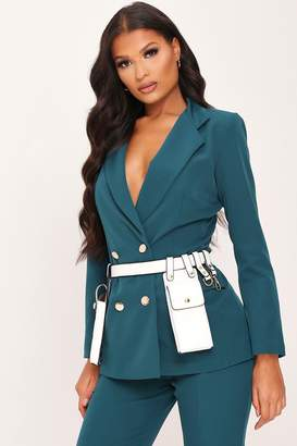 I SAW IT FIRST Emerald Green Double Breasted Blazer