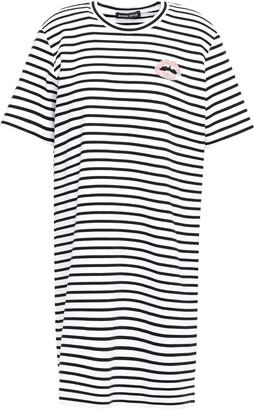 Markus Lupfer Alex Appliqued Striped Stretch-cotton Jersey Mini Dress
