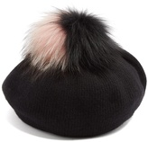 Miu Miu Fur-pompom wool and cashmere-blend beret
