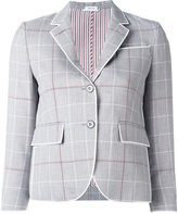 Thom Browne checked cropped blazer - women - Silk/Cotton/Wool - 40