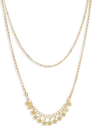 Argentovivo Layered Star & Enamel Bead Chain Necklace