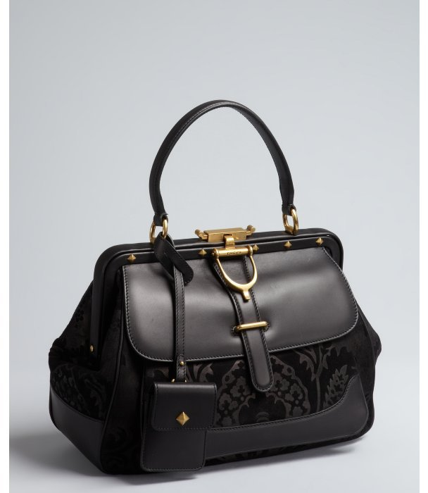 Gucci black damask suede and smooth leather horsebit strap doctor bag