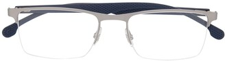 Carrera Steel-Effect Rectangle Frame Glasses
