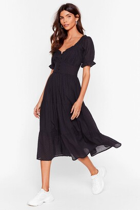 Nasty Gal Womens Tier for You Broderie Anglaise Midi Dress - Black