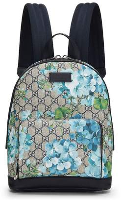 Gucci Blue GG Blooms Supreme Canvas Backpack Small