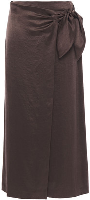 Nanushka Amas Washed Crepe De Chine Midi Wrap Skirt