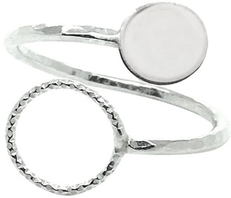 Lucy Ashton Jewellery Circle & Disc Adjustable Ring Sterling Silver