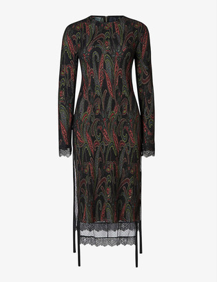 AllSaints Kiara layered lace-trimmed graphic-print woven midi dress