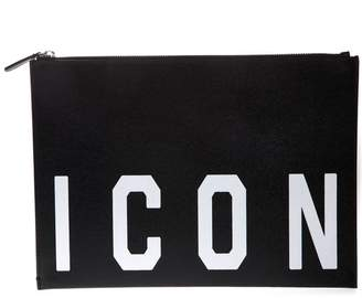 DSQUARED2 Black Icon Leather Clutch