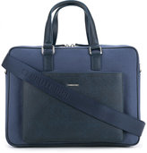 Cerruti pocket detail briefcase - men - Cotton/Calf Leather - One Size