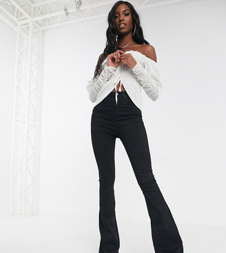Asos DESIGN Tall Sculpt me bell flare jeans in clean black