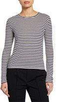Vince Midi Stripe Long-Sleeve Crewneck Tee