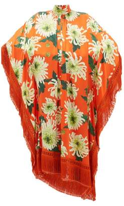 Andrew Gn Fringed Floral-print Silk-blend Poncho Dress - Womens - Orange Multi
