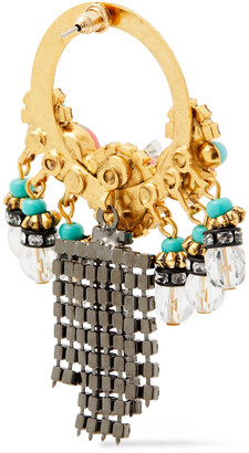 Elizabeth Cole 24-karat Gold And Hematite-plated, Crystal And Stone Earrings