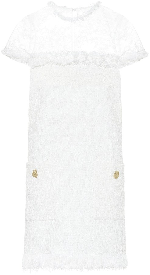 Oscar de la Renta Lace-trimmed tweed minidress