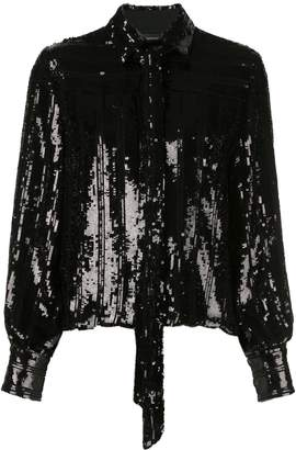 Sally LaPointe sequined tied-neck blouse