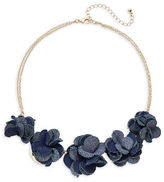 Expression Graduated Denim Flower Necklace