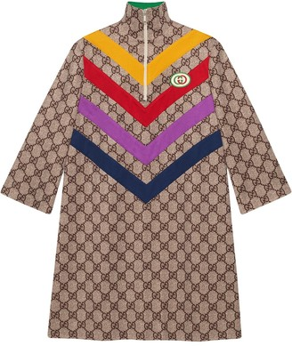 Gucci chevron-striped GG-print dress