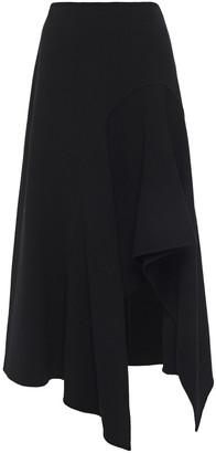 Oscar de la Renta Asymmetric Wool-blend Crepe Midi Skirt