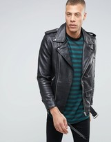 Selected Plus Leather Biker Jacket