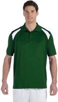 Harriton Men's 4 oz. Polytech Colorblock Polo - DARK GREEN/WHITE - 6XL