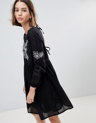 People Tree Smock Dress With Embroidery