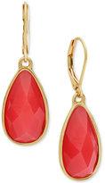 Nine West Gold-Tone Red Stone Drop Earrings